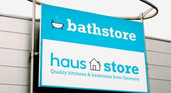 Bathstore Kitchen Haus-Store sign & logo